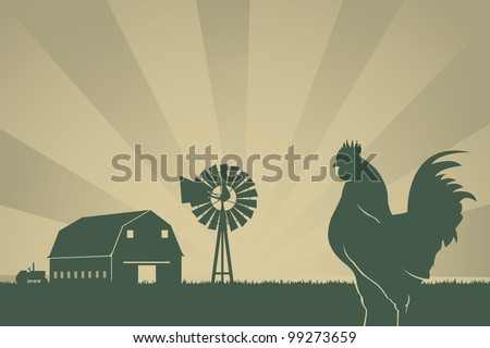 American Farming Background With Barn, Wind Turbine, Rooster - stock vector