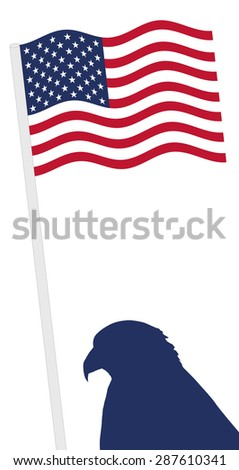 American Flag and pole with eagle shape, independence day vector