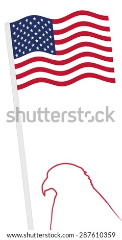 american flag and pole with eagle shape outline vector