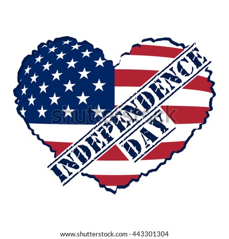 american flag heart shaped symbol 4th stock vector 443301304 rh shutterstock com American Flag Background Clip Art Patriotic Stars Clip Art