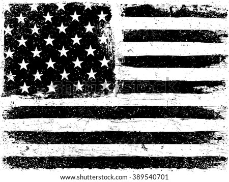 American Flag Background. Grunge Aged Vector Template. Horizontal orientation. Monochrome gamut. Black and white. Grunge layers can be easy editable or removed. - stock vector