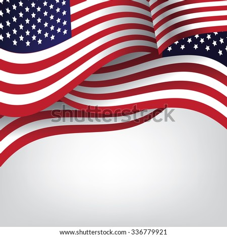 American flag background with copy space. EPS 10 vector illustration.  - stock vector