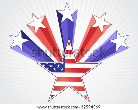 American flag background with star background - stock vector