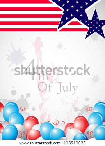 American flag background with statue of liberty seamless background and balloons background for Independence Day and other occasions. EPS 10, Vector Illustration. - stock vector