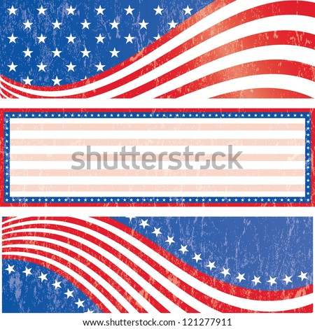 American flag banners set grunge style. Grunge effect can be removed. Vector EPS 10. - stock vector