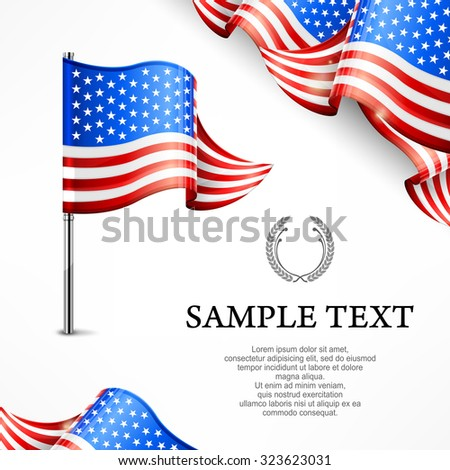 American flag & banners with text isolated on white, vector illustration - stock vector