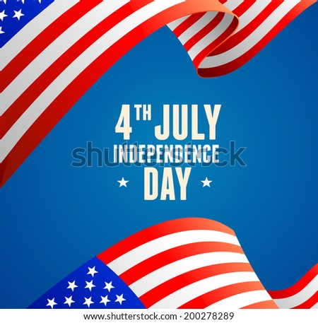 American flag border vector illustration on white. Independence day concept card - stock vector