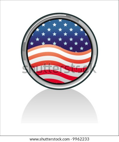 American flag button USA To see similar illustrations please visit my gallery. - stock vector