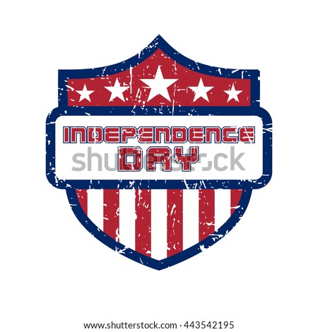 American flag element, symbol for 4th of July, Independence Day celebration. Patriotic Typography Graphics. Shield design. Fashion Print sportswear apparel, t shirt, card, banner Vector illustration