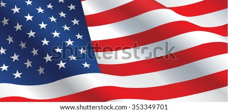American flag flowing in the wind - stock vector