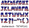 American flag font - stock vector