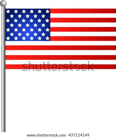 American Flag for Independence Day, Realistic. Vector EPS illustration - stock vector