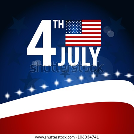 American Flag for Independence Day. Vector illustration. - stock vector