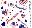 American flag heart Vector pattern - stock vector