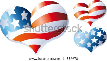 american flag hearts - stock vector