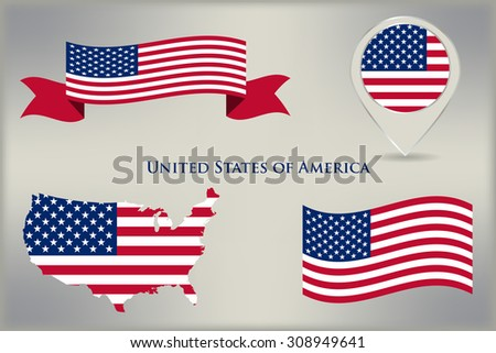 American flag icon set.USA flag design elements.Vector template.