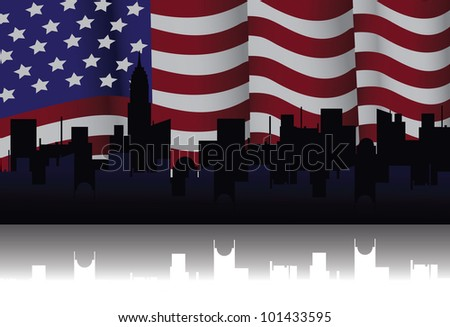 American Flag Illustration Vector EPS 8 vector grouped for easy editing. - stock vector