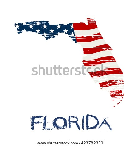 American flag in Florida map. Vector grunge style - stock vector
