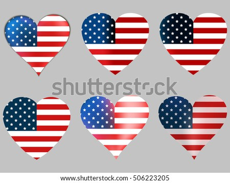 American flag in heart. Collection of hearts with the American flag. Vector illustration.
