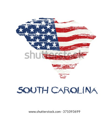 American flag in South Carolina map. Vector grunge style - stock vector