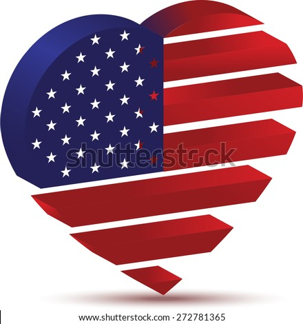American flag in the form of heart - stock vector