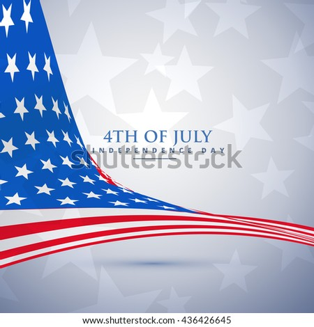 american flag in wave style. 4th of july background - stock vector