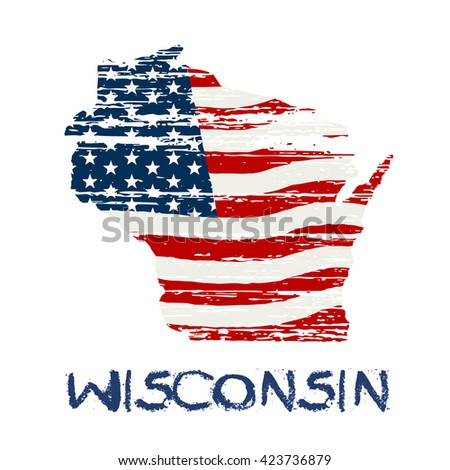 American flag in wisconsin map. Vector grunge style - stock vector