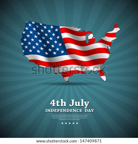 American flag independence day background, vector illustration - stock vector