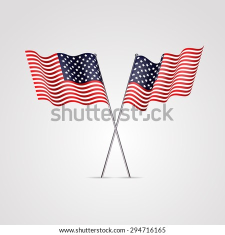 American flag isolated on white. vector