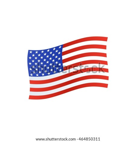 American flag isolated on white. Vector illustration.