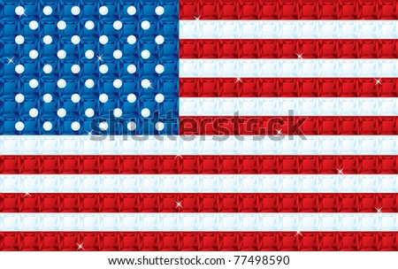 American Flag made from diamonds, sapphires and rubies in vector format. - stock vector