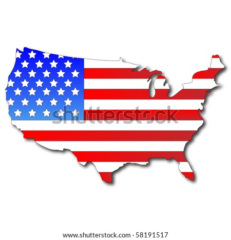 American flag on a map of the USA - stock vector