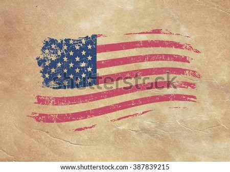 American flag on an old piece of paper - stock vector