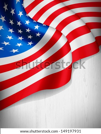 American flag on grey wood background. Vector illustration. - stock vector