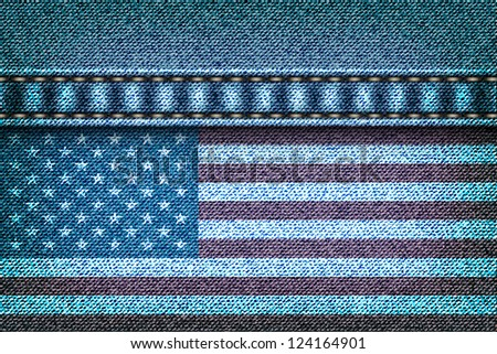 American flag on the jeans texture - stock vector