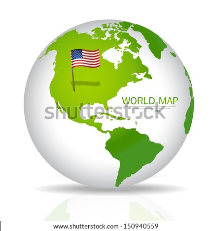 American Flag on the map. Vector illustration. - stock vector