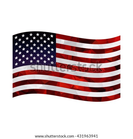 American flag on white background. Polygonal design.