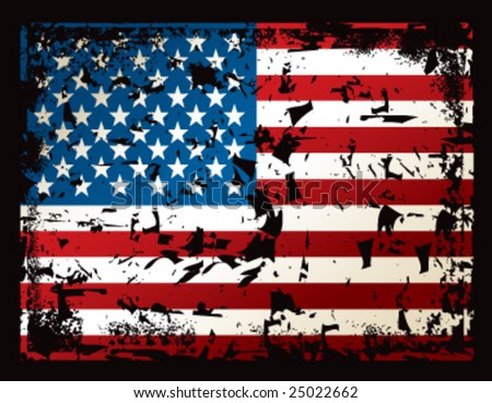 American flag postcard. Measures 5.5 x 4.25 inches - stock vector