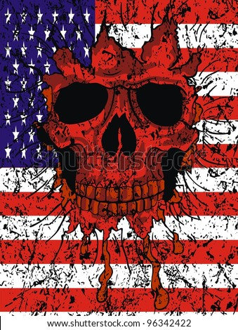 American flag skull - stock vector