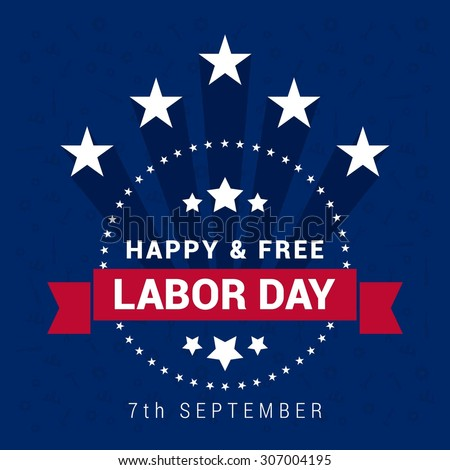 American Flag Stamp design Happy and Free Labor Day, September 7th, United state of America, American Labor day design. Beautiful USA flag Composition. Labor Day poster design