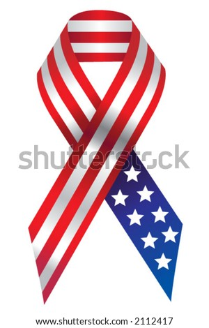 American Flag Support Ribbon - stock vector