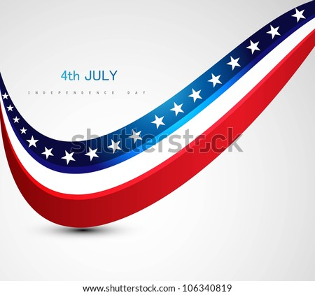 American Flag 4th july american independence day - stock vector