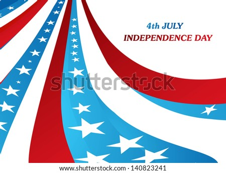 American Flag 4th july independence day wave design illustration
