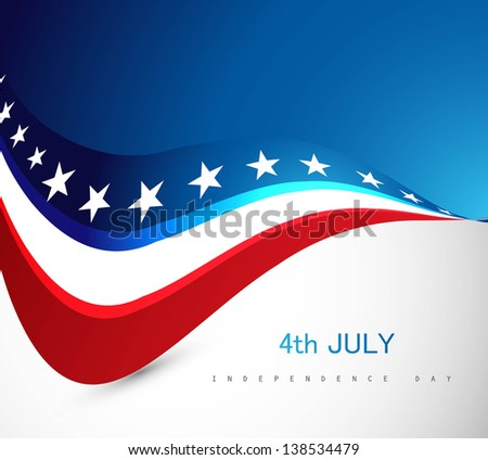 American Flag 4th july independence day wave illustration - stock vector