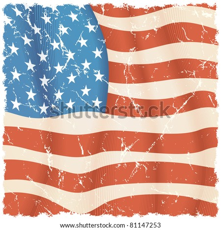 American Flag theme, torn grunge vector background - stock vector
