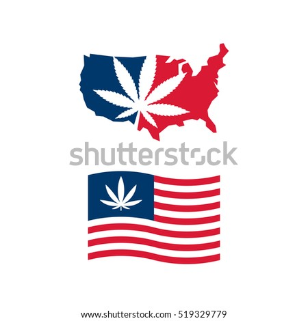 American Flag Usa Map Cannabis Vector Stock Vector - Us map logo