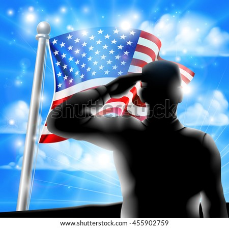 American Flag waving in the wind with a silhouette soldier, design for Memorial Day or Veterans Day - stock vector