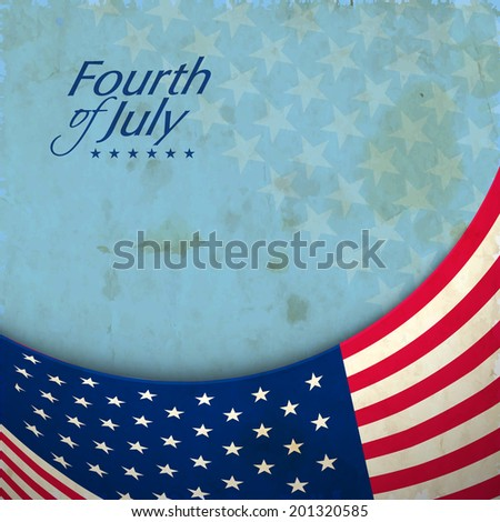 American flag waving on grungy stars decorated blue background for American Independence Day celebrations.  - stock vector