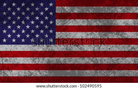 American Flag with grunge texture effect. - stock vector