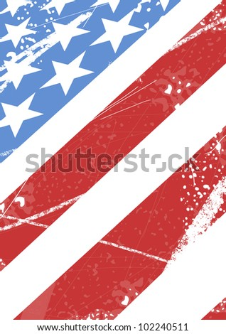 American flag with scratches - stock vector